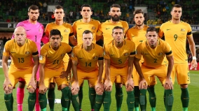 PERTH, AUSTRALIA - SEPTEMBER 01: The Socceroos pose for a team photo before the 2018 FIFA World Cup Qualifier match between the Australian Socceroos and Iraq at nib Stadium on September 1, 2016 in Perth, Australia. (Photo by Paul Kane/Getty Images)